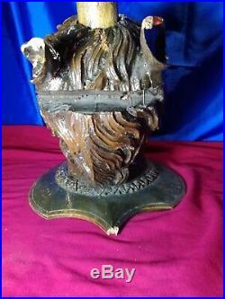 Imposante Unicorn wood sculpture carved Antique 1900 German Black Forest RARE