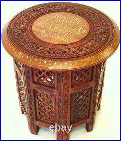 Indian Hand Carved 15 inch Sheesham Jali Wooden Side Table with Brass and Copper