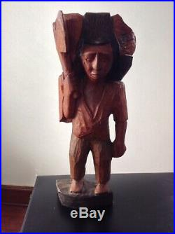 Indio Madera Native American Wood Carving Sculpture Unique Rare Cool Collectible