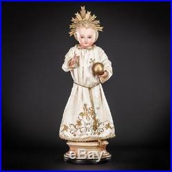 Infant Jesus of Prague Sculpture Child Christ Statue Antique Wood Carving 20