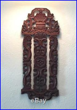 Intricately Carved Wood Relief Wall Panel Art Architectural Salvage Pediment