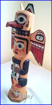 Inuit Alaskan Tribal Wood Totem Pole 16.8 Carved Painted Signed Patrick Seale
