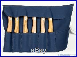 JAPANESE KOGATANA WOOD CARVING KNIFE SET Knives With ROLL-UP BAG, SET OF 6 NEW