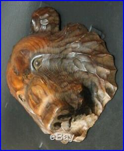 JAPANESE WOOD CARVING BEAR MASK AINU SCULPTURE WALL HANGING by SUZUKI 9.25 W