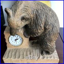 Japan bear wood carving Clock Ainu Okkaido Post WWII Japanese carving sculpture