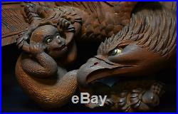 Japanese Antique Wood Carving Falcon & Monkey Extra Large Sculpture Edo Era