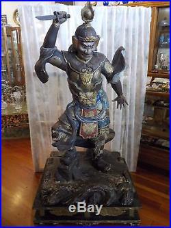 Japanese Buddhist Temple Guardian Wood Carving, Japan Pavilion 1909 Worlds Fair