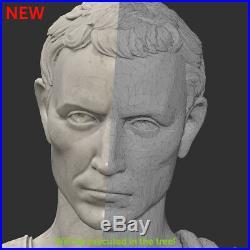 Julius Caesarwood Carved Bust Sculpture Statue Figure Art Furniture Picture