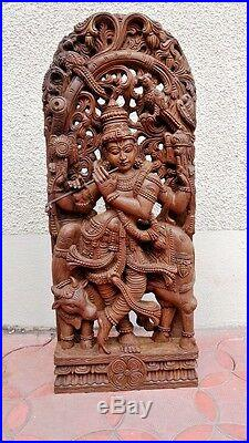 Krishna Wooden Statue Hindu God Temple Hand carved 3 ft sculpture Huge Figurine