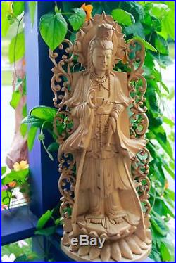 Kwan Yin Bodhisattva wood carving Statue Buddhist Goddess Sculpture Balinese Art