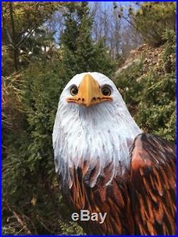 LARGE Chainsaw Carving Bald Eagle WHITE PINE WOOD Sculptures Log Statue Folk Art