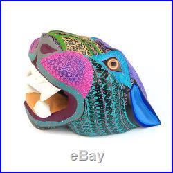 LARGE JAGUAR HEAD Oaxacan Alebrije Wood Carving Fine Mexican Folk Art Sculpture