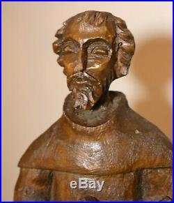 LARGE antique 1800s carved wood folk art Santos Saint Francis Assisi sculpture