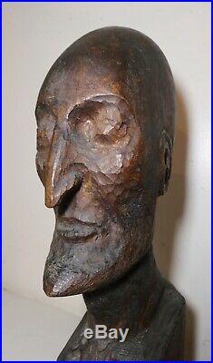 LARGE antique hand carved Folk Art wood man head face bust sculpture statue