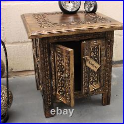 Lama Dal Small Square Side Table Moroccan Style Carving Storage Compartment Home