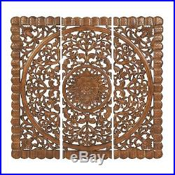 Large 3-Piece Wood Carved Panel Wall Art Sculpture Set Floral Mandala 48 x 16