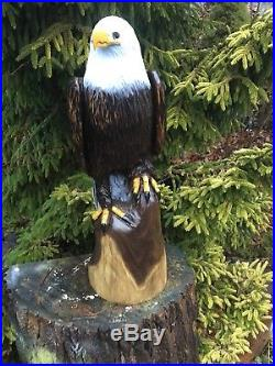 Large BALD EAGLE Chainsaw Carving BLACK WALNUT WOOD Sculptures Birds of Prey