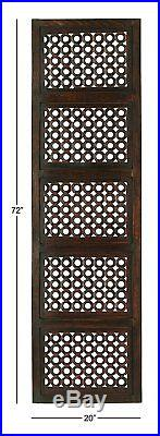Large Contemporary Geometric Lattice Pattern Brown Carved Wood Wall Panel Decor