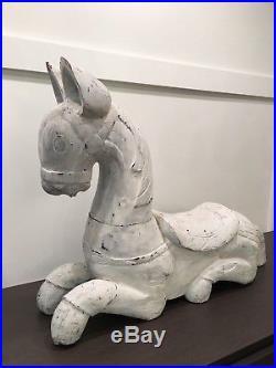 Large Folk Art Deco Carved Wood Horse Sculpture Statue Figurine Animal Modern