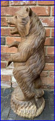 Large Hand Carved Solid Wood Standing Bear Suar Wood Indonesia 82cm High
