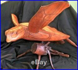 Large Logger Head Sea Turtle Honu Wood Carving/Sculpture on Driftwood