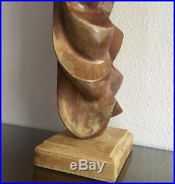 Large Modernist Carved Wood Female Nude Sculpture, Artist Signed 1960s 26 MCM