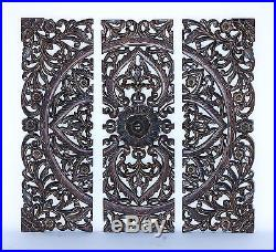 Large Rustic French Country Square Wood Carved Set/3 Wall Panel Plaque Decor NEW