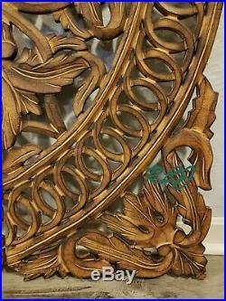 Large Square Floral Medallion Scrolling Carved Dark Wood Set/3 Wall Panels Decor