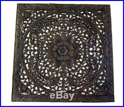 Large Teak Wood Wall Carving Thai Carved Wooden Lotus Plaque Relief Panels 35
