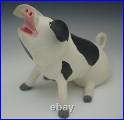 Leroy Ortega 1982 Wood Carving Pig Piglet Folk Art Primitive Signed