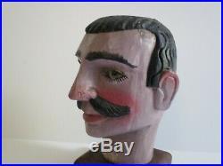 Life Size Old Wood Carving Head Folk Art Statue Sculpture Glass Eye Primitive