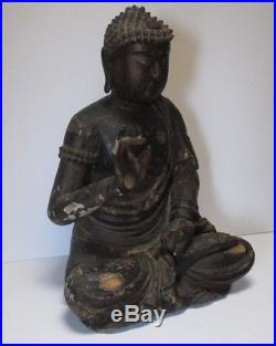 Life Size Wood Carving Buddha Seated Antique 19th Century Or Older Sculpture