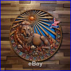 Lion Wood Signs Of Zodiac Carved Artwork Painting Picture Sculpture Decor