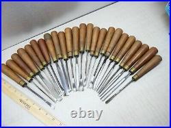 Lot of 24 Vintage D. R. Barton wood carving chisels