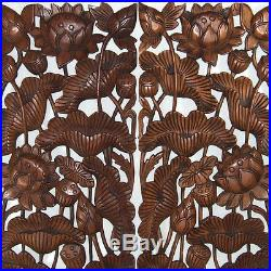 Lotus Flower Leaf New Wood Carving Home Wall Panel Mural Decor Art Statue gtahy