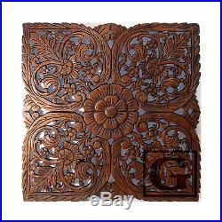 Lotus Flower Teak Wood Hand Carved Home Decor Wall Panel Art Decorative #3 gtahy