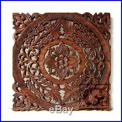 Lotus Flower Teak Wood Hand Carved Home Decor Wall Panel Art Decorative #5 gtahy