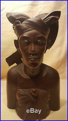 M D Panti Bali Statue Bust Man Woman Carved Wood Sculptures