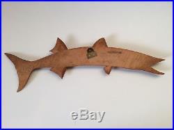 MID Century Modern Wood Fish Sculptures Vtg Folk Atomic Art 50's Eames Carved