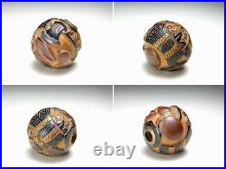 Makie Lacquer Carving OJIME Bead NETSUKE Ax Japanese Original Edo Inro Antique