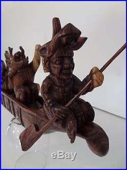 Mayan Paddler Gods Wood Sculpture Canoe Replica Hand Carved by Tikal Indians