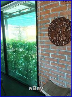 Medallion Tropical Wood Carved Lucky Elephants Home Decor Wall Plaque Brown 24