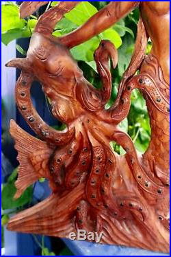 Mermaid Octopus Kraken Sculpture Wood Carving Bali Statue Handmade Nautical Art