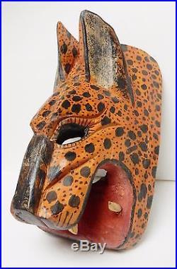 Mexico Africa Jaguar Mask Figure Wood Carving Animal Sculpture Art VINTAGE