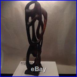 Mid Century Modern Brutalist Carved Wood Sculpture Dali Era