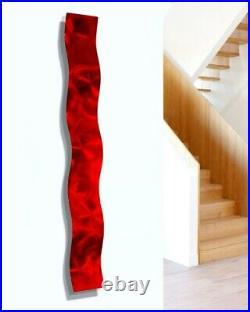 Modern Metal Wave Wall Art Sculpture Red Hanging Abstract Home Decor Jon Allen