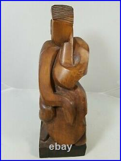 Modernist Wood Carved Cello Player, Musician Statue Sculpture Signed Modern Art