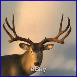 Mule deer woodcarving Ralph Trethewey original signed estate antlers sculpture