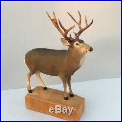 Mule deer woodcarving Ralph Trethewey original signed estate vintage sculpture