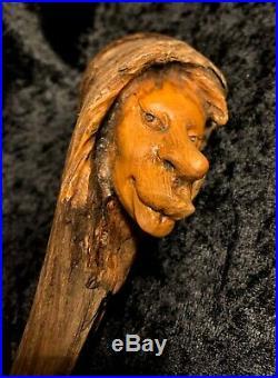 Nancy Tuttle Original Wood Carving Permanently Puckered Pixie OOAK Super